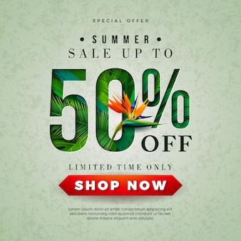 Estate vendita banner design con pappagallo e foglie di palme tropicali