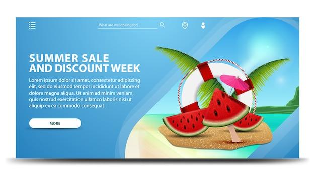 Estate vendita e sconto settimana, banner web orizzontale creativo con uno splendido scenario