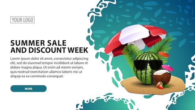 Estate vendita e sconto settimana, banner web orizzontale moderno con bella trama