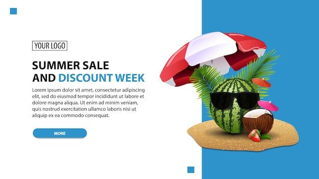 Estate vendita e sconto settimana, sconto bianco minimalista web banner modello per il tuo sito web