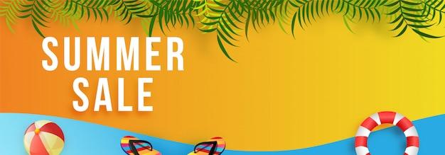 Estate vendita web banner design con beach ball
