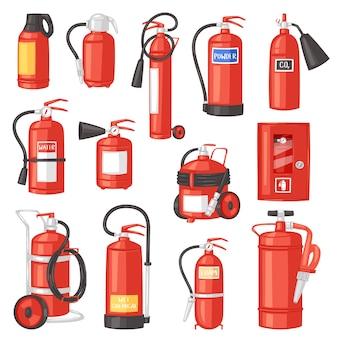 Estintore estintore per sicurezza e protezione per estinguere il fuoco illustrazione set di attrezzature antincendio del pompiere su sfondo bianco