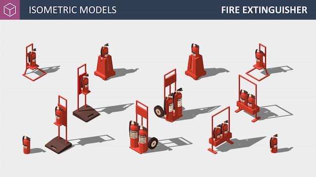 Estintore isometrico - set di equipaggiamento di sicurezza. illustrazione.
