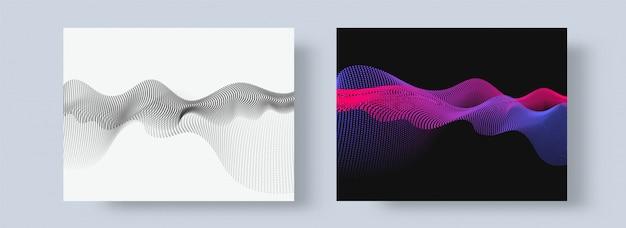 Estratto bianco e nero con composizione di particelle di movimento di onda fluente.