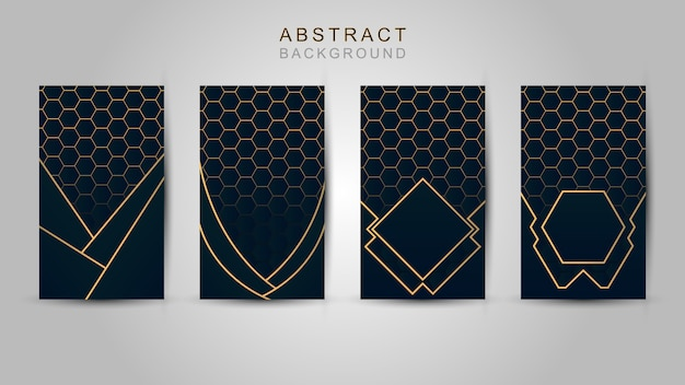Estratto blu scuro di lusso del modello poligonale con fondo oro.