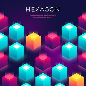 Estratto con forme 3d. sfondo esagonale colorato per volantini, copertina, presentazione