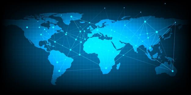 Estratto del concetto della rete del mondo del commercio globale che usando come fondo e carta da parati.