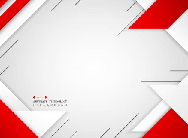 Estratto del modello di sci geometrici rosso e bianco futuristico su sfondo bianco sfumato