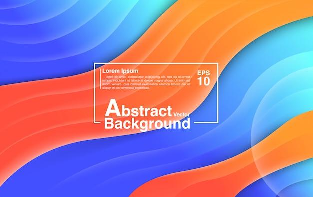 Estratto della priorità bassa dalla composizione fluida in figure. sfondo e sfondo arancione blu colorato.