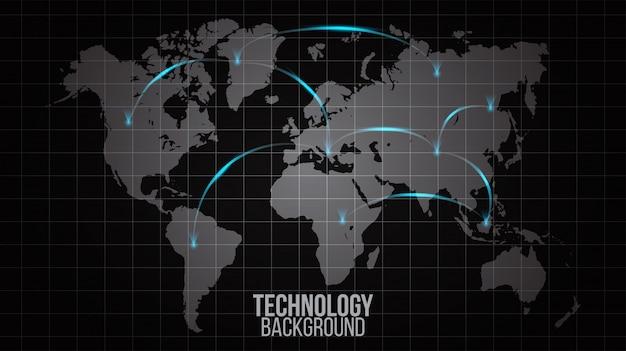 Estratto della rete globale del concetto del collegamento del mondo. grande rete sociale di visualizzazione di dati
