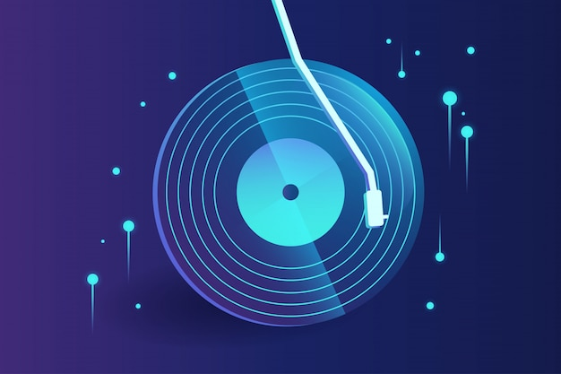 Estratto di musica di disco in vinile ad alta tecnologia con gradiente
