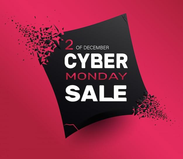 Estratto di vendita di lunedì di cyber su colore rosso. banner con effetto esplosione