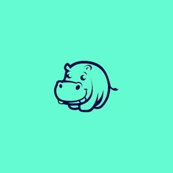 Estratto minimalista di concetti unici di logo di ippopotamo