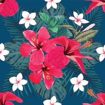 Estratto rosso dei fiori dell'ibisco e del frangipane del modello senza cuciture. illustrazione vettoriale disegno a mano.