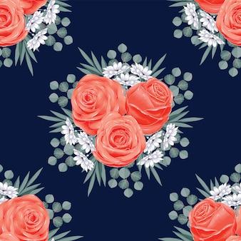 Estratto senza cuciture dei fiori di rosa del modello. stile asciutto del disegno della mano dell'acquerello dell'illustrazione di vettore.
