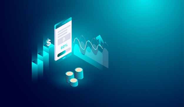 Estrazione di criptovalute sul concetto di smartphone