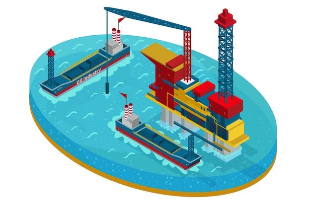 Estrazione di petrolio isometrica nel concetto di mare