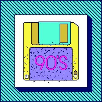 Etichetta anni '90 con floppy disk