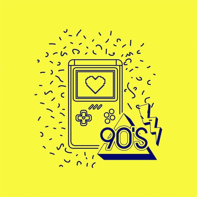 Etichetta anni '90 con videogame retro