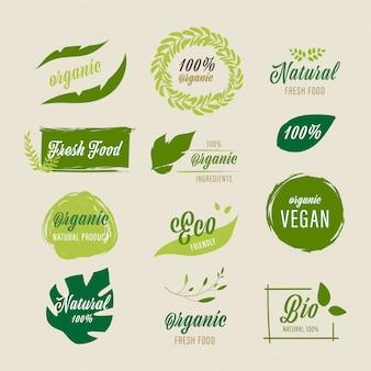 Etichetta biologica e etichetta fresca fattoria naturale.