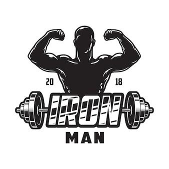 Etichetta bodybuilding vintage con manubri in metallo uomo forte e scritta