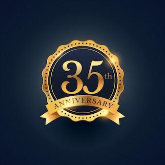 Etichetta celebrazione distintivo 35 ° anniversario nel colore dorato