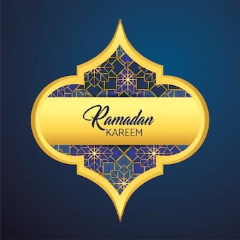 Etichetta con la luna e le stelle a ramadan kareem