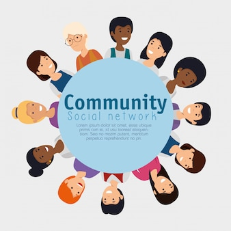 Etichetta con le persone comunità e messaggio sociale