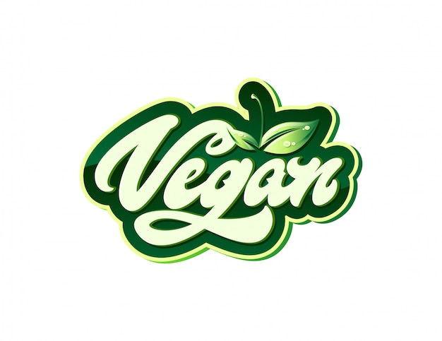 Etichetta con logo vegan in stile lettering