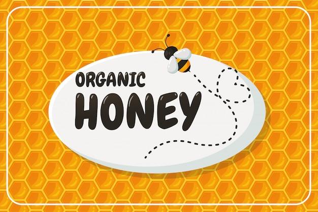 Etichetta con miele biologico con design a nido d'ape
