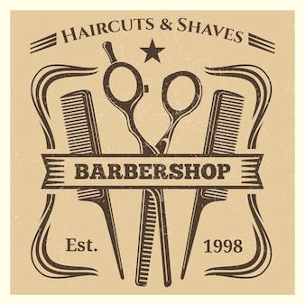 Etichetta d'annata del barbiere che desing sul fondo di lerciume
