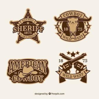 Etichetta da cowboy e collezione di badge