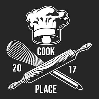 Etichetta da cucina vintage monocromatica