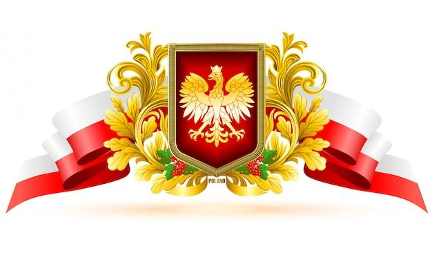 Etichetta decorativa polonia con colori nazionali.