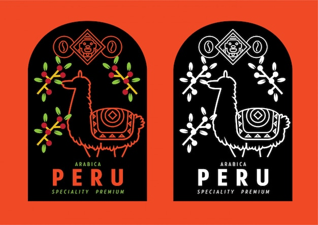 Etichetta del caffè del perù con lama