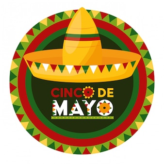 Etichetta del cappello messicano, illustrazione di cinco de mayo, messico