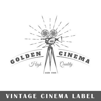Etichetta del cinema su sfondo bianco. elemento. modello per logo, segnaletica, branding. illustrazione