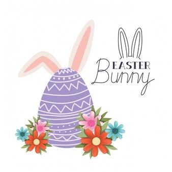Etichetta del coniglietto di pasqua con l'icona di orecchie di coniglio e uovo