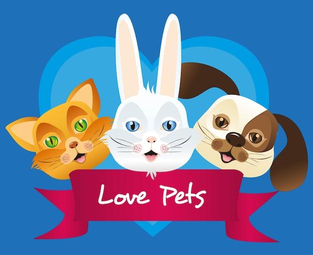 Etichetta del gatto e del coniglio del cane issolated sopra fondo blu