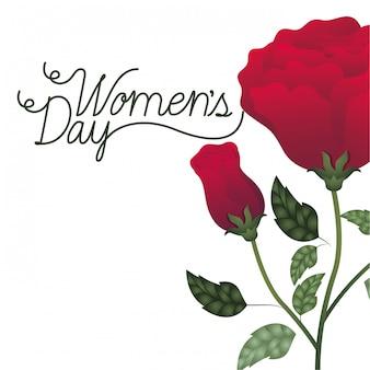 Etichetta del giorno delle donne con l'icona isolata rose