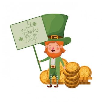 Etichetta del giorno st patricks con personaggio leprechaun