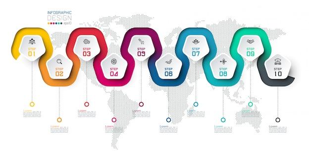 Etichetta del pentagono con linea colorata infografica collegata. uso del modello di design moderno per infografica, 10 passaggi.