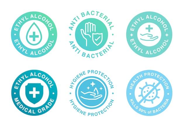 Etichetta del prodotto a base di alcol etilico per disinfettante per le mani.
