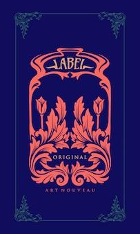 Etichetta dell'illustrazione che intaglia art nouveau