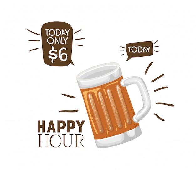 Etichetta dell'ora felice con icona isolata birra
