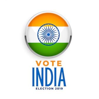 Etichetta della bandiera indiana per l'elezione 2019