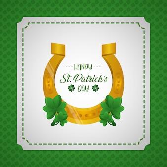 Etichetta della cartolina d'auguri, del ferro di cavallo e del trifoglio del giorno di st patrick felice su verde