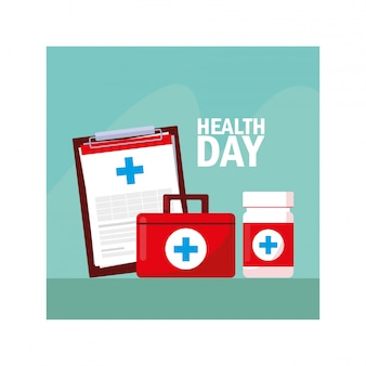 Etichetta della giornata mondiale della salute con medicinali