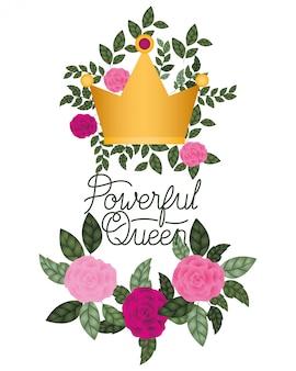 Etichetta della regina potente con icona isolata di rose