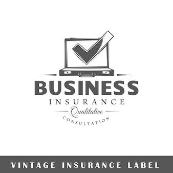 Etichetta di assicurazione su sfondo bianco. elemento. modello per logo, segnaletica, branding. illustrazione